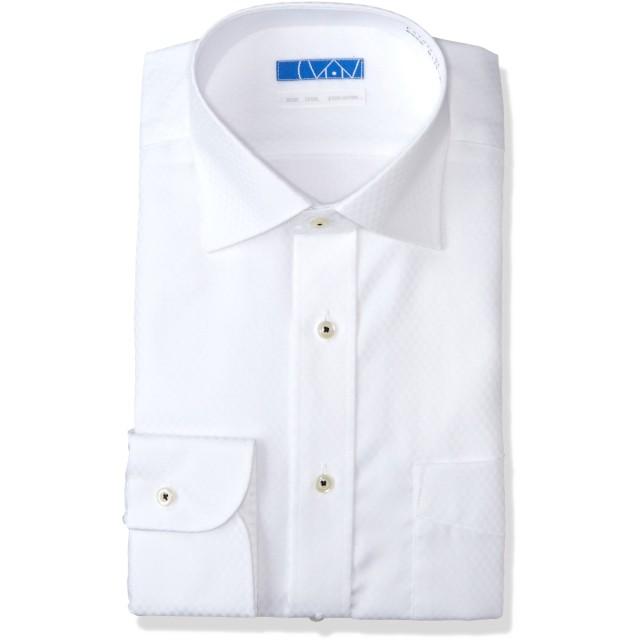 [ドレスコード101] スマシャツ 洗って干してそのまま着る メンズ ノーアイロン ワイシャツ 長袖 形態安定 綿100% シャツ EATO23 白 チェックドビー ワイド M (裄丈80)