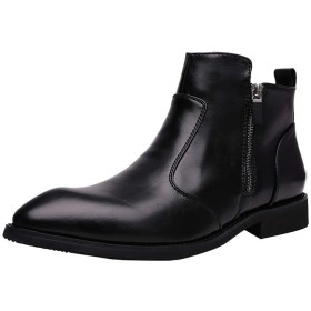 [SIUBIANLA] マーティンブーツ 革靴 メンズ 紳士靴 オフィス ビジネスブーツ カジュアル靴 滑り止め ハイカットブーツ ジッパー 防水性