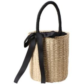 Fashion maker(F&M) カゴバック レディース バケツ ハンドバッグ 可愛い リボン 軽量 手提げ かごバッグ 上部巾着 手提げ 森ガール (ベージュ)