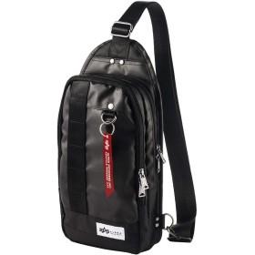 [アルファ インダストリーズ] ボディバッグ ショルダーバッグ 3ポケット 長財布/ペットボトル 収納 光沢生地 ブラック 200-BAG129BK