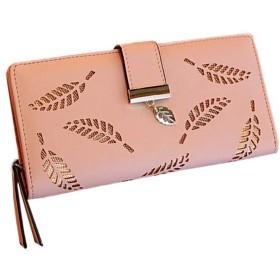 [もうほうきょう] 2019年 新しい 韓国語版 さん 財布 長いセクション ファッション クラッチ 透かし彫りの葉 ジッパー バックル財布 カードパッケージ (ピンク)