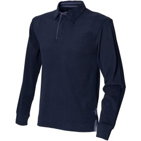 (フロント・ロウ) Front Row メンズ スーパーソフト 長袖ポロシャツ ラガーシャツ トップス カットソー 男性用 (L) (ネイビー)