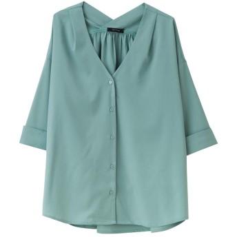 AquaGarage(アクアガレージ)5分袖ワイドスリーブシャツ ミント L