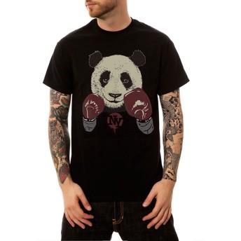 Pizoff(ピゾフ) メンズ Tシャツ 半袖 綿 黒 パンダ柄 ワンポイント おもしろ お揃い カットソー 普段着Y1925-06-XL