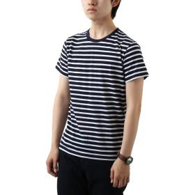 [REPIDO (リピード)]半袖Tシャツ 消臭 メンズ カットソー クルーネック 無地 ボーダー インナーT 缶入り ネイビー(ボーダー) Lサイズ
