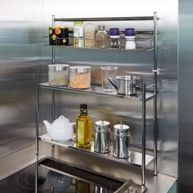 ステンレス棚コンロサイド収納ラック スパイスラックタイプ 幅40cmシルバー