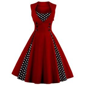 VogueBella ポルカドットのスプライシングのスイングのカクテルパーティーのドレスの女性のロカビリービンテージピン (L, ワインレッド) [並行輸入品]