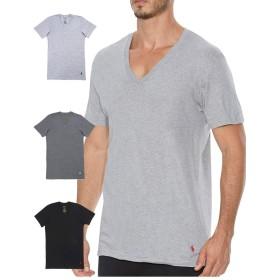 (ポロ ラルフローレン) POLO RALPH LAUREN 3枚セット 半袖 Tシャツ メンズ クラシックコットン Vネック グレー 黒 S(USサイズ) [並行輸入品]