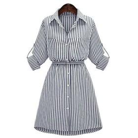 女性ストリートファッションプラスサイズシャツドレスストライプシャツカラー膝上七部袖ブルーポリエステル春秋ミッドライズマイクロエラスティックミディアム