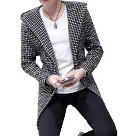 【SEBLES】メンズ アウター コート チェック柄 格子柄 ロング丈 チェスターコート カジュアル ブラック M
