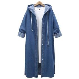 デニム ロングシャツ レディース フード付き ロング丈 ゆったり ジージャン 羽織り ダークブルー XL