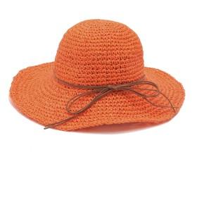 (アーバン ココ)[Urban CoCo]ハット 編み レディース 草 折りたたみ 帽子 サイズ調整可 つば広帽子ハット 夏 UVカット アウトドア (オレンジ)