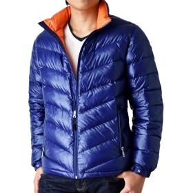 (アローナ) ARONA 超軽量ダウンジャケット 驚くほど軽くて暖かい メンズ プレミアムダウン使用 軽量 撥水 防風/S 71Dブルー×オレンジ M