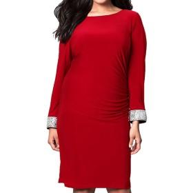 (ラボーグ)La Vogue パーティー ドレス レッド ワンピース 膝丈 背中開き エレガンス 長袖 知性 イブニングドレス カジュアル 大きいサイズ 着痩せ 3XL