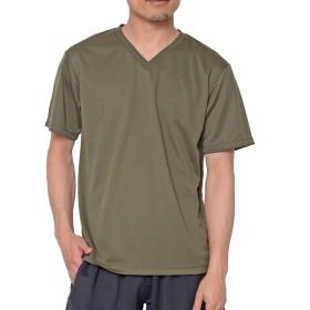 ティーシャツドットエスティー Tシャツ ドライ 半袖 無地 Vネック UVカット4.4oz メンズ アーミーグリーン M