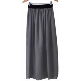 ロングスカート レディース ふんわり エレガント 2層重ね マキシスカート ハイウエスト かわいい ウエストゴム フリーサイズ 全13色 (グレー)