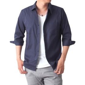 [トップイズム] シャツ メンズ 7分袖 ブロード 無地 カジュアル ドレス ストレッチ 6-ネイビー Lサイズ