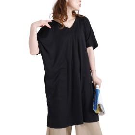 [ゴールドジャパン] 大きいサイズ レディース 前後 2way カットソー ワンピース 半袖 タック ドルマン ポケット maru-6335 3L ブラック