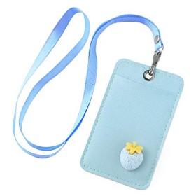 ANPHSIN パスケース -PU 定期入れ ストラップ付き パス入れ カードケース ICカードケース メンズ レディース 通勤 通学 可愛い (blue strawberry)