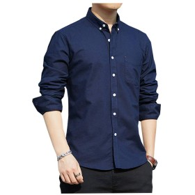 ワイシャツ メンズ 長袖 オックスフォードボタンダウン ワイシャツ 無地 春 秋 L8C01 (L, L8C01-NAVY)