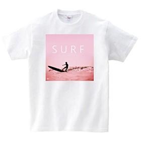 Lindwurm (リンドヴルム) Tシャツ メンズ 半袖 おしゃれ SURF サーフ 波乗り 海 hawaii フォトプリント Pink クルーネック Uネック ユニセックス 男女兼用 プリントTシャツ ホワイト M