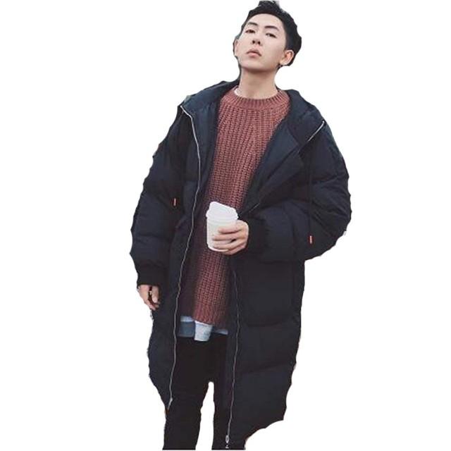 ANGELCITY メンズ ダウンコート ダウンジャケット ロング フード付 防寒ジャケット ゆる 無地 着痩せ カジュアル 棉服 ライトダウン 個性 ブルゾン アウター シン プル かっこいい 冬 綿 軽量 厚手 冬の暖かいコート 大きいサイズ A192 (L, ブラック)