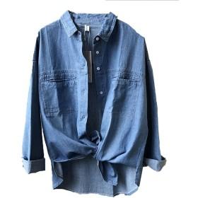 [美しいです] シャツ レディース コットン デニムジャケット ゆったり 柔らかい (ブルー, L)