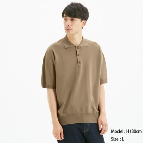 (GU)ニットポロシャツ(半袖)CL BEIGE XXL