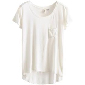 (ベストギフト)Bestgift レディース モーダル ショートスリーブ Tシャツ ホワイト フリーサイズ