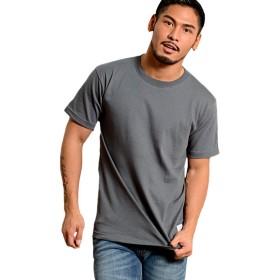 (キャバリア)CavariA メンズ 半袖 Tシャツ クルーネック ワンポイント ロゴ 無地 蛍光CAKK19-01 46(L) CHA(チャコール)【+】