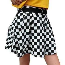 Fly Year-JP 女性のプリーツチェッカーボードはハイウエストチェックインスイングスカートをスカート 1 XS