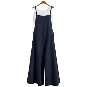 レディース 綿麻 サロペット ゆったり オールインワン ロングパンツ ズボン リネン 綿麻サロペット カジュアル 大きいサイズ ブルー XL