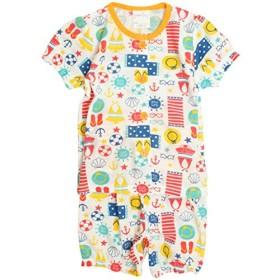 パジャマ ベビー 赤ちゃん 女の子 海あそび柄 腹巻付き 丸首 前開き 半袖 パジャマ オレンジ-(OR) 90cm