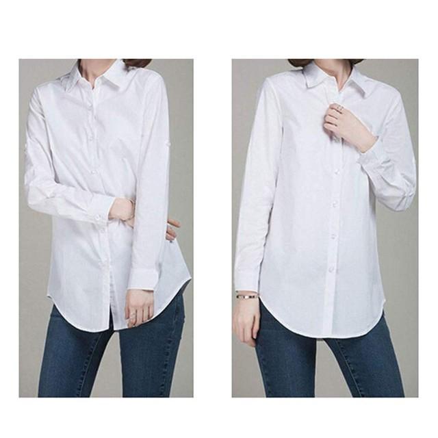 ブラウス レディース ロングシャツ Yシャツ オフィス チュニック オールシーズン 長袖 白 ゆったり シンプル 体型カバー (M)