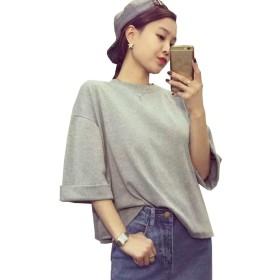 PuHao (プハオ) ゆったりシルエット 半袖 レディース BIG Tシャツ ティーシャツ 無地 ホワイト ピンク グレー ブラウス トップス プルオーバー (グレー)