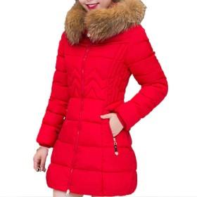 【もうほうきょう】 レディースコート 綿入りのコート 厚手 ロングコート 女性コート ダウン綿コート (レッド, M)