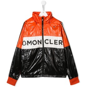 Moncler Kids フーデッド シェル ジャケット - オレンジ