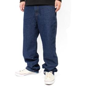 デニム カーゴパンツ メンズ 大きいサイズ ゆったり ワイド ウエストゴム デニムパンツ 七分丈 クロップドパンツ ジーンズ 2L ネイビー(プレーン)