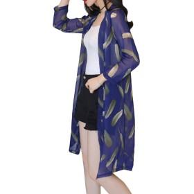 Minesam シフォン カーディガン レディース 薄 花柄 透け感 日焼け 冷房対策 アウター レディース 羽 ネイビー XL
