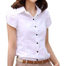 kazan 半袖 ブラウス スリム タイプ チューリップ袖 S ~ XL 大きい サイズ も (01 白Sサイズ)