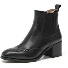 [ZUYEE] (ズイェ) レディース ショートブーツ サイドゴア 本革 ウイングチップ ヒール チェルシーブーツ ブラック 23.5cm