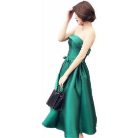 グリーンサテンレディースドレス ボートネックボルガン チューニック レースアップチューニック パーティードレス 発表会のドレス (グリーン, 12)
