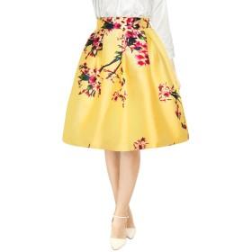 Allegra K プリーツ Aラインスカート ミディスカート 花柄 ハイウエスト エレガント パーティー レディース イエロー S