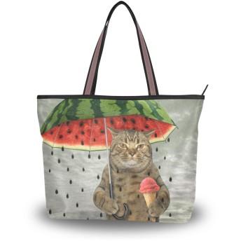 SoreSore(ソレソレ)トートバッグ 大容量 レディース メンズ 猫柄 猫 ネコ おもしろ 西瓜 スイカ かわいい バッグ ハンドバッグ ファスナー 大きめ 通学 旅行 帆布 プレゼント