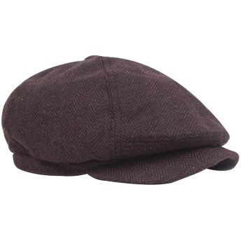Echana キャスケット つば付き ハンチング ベレー帽 サイズ調整 おしゃれ カジュアル 帽子 野球 アウトドア ニュースボーイキャップ 秋冬 男女兼用 (ブラウン)