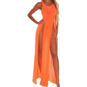 VITryst 女性ビーチドレススプリットセクシーノースリーブストレッチ曲線ロングドレス Orange XS