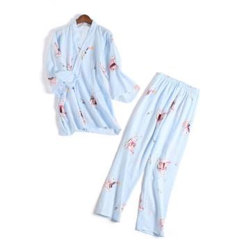 Bole-kk パジャマ ルームウェア 寝巻き レディース 半袖 入院 介護 2重ガーゼ 寝間着 部屋着 前開き 上下セット ゆったり