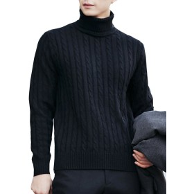 (ネルロッソ) NERLosso セーター タートルネックセーター メンズ ニット メンズセーター 長袖 ニットセーター vネック ケーブル編み メンズスタイル クルーネック ブラック205 M cmw2464