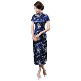 チャイナ服 ロング丈 ロングチャイナドレス 結婚式ゲスト衣装 ワンピースドレス フォーマルワンピース (M, 梅柄ブルー)