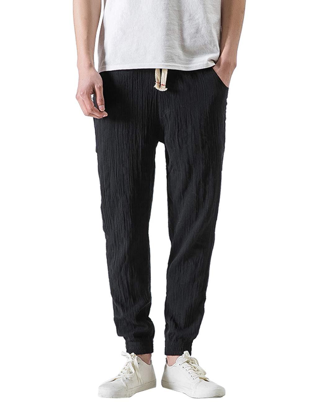 WEEN CHARM 袴パンツ 棉麻 メンズ 7分丈 ワイドパンツ ショートパンツ 調整紐付き ズボン ゆったり ガウチョパンツ シンプル 無地 春夏 サルエルパンツ カジュアル